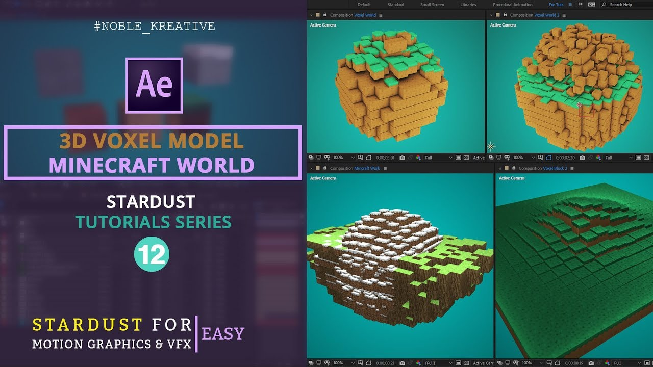 3D Voxel Model , Stardust Tutorial , Motion Graphics , After Effects tutorials