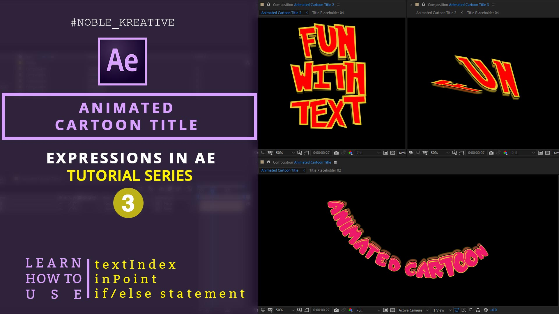 Animated Cartoon Title , motion graphics , after effects tutorials , after effects expressions