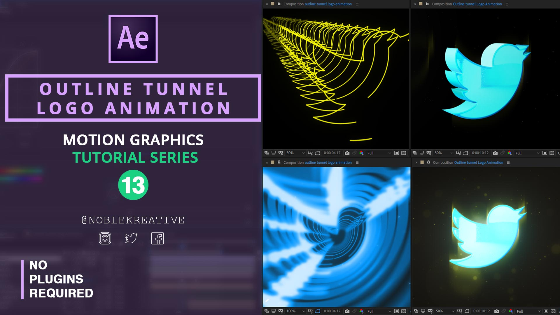 Outline Tunnel Logo Animation , after effects , motion graphics , logo animation , learn after effecys