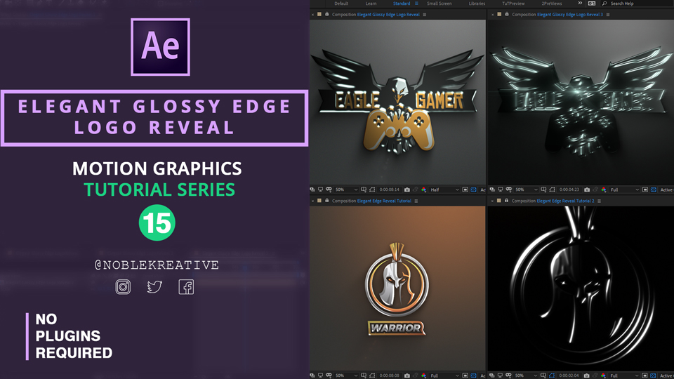 Elegant Glossy Edge Logo Reveal , after effects , motion graphics ,logo animation, after effects tutorial , logo reveal animation