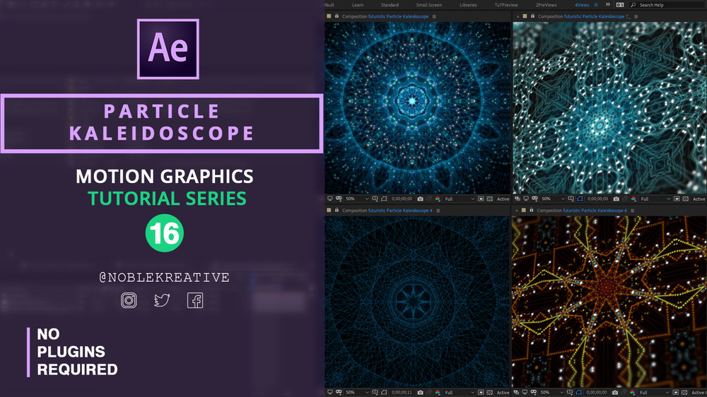 Particle Kaleidoscope ,after effects tutorial ,kaleidoscope audio visualization , futuristic particle kaleidoscope