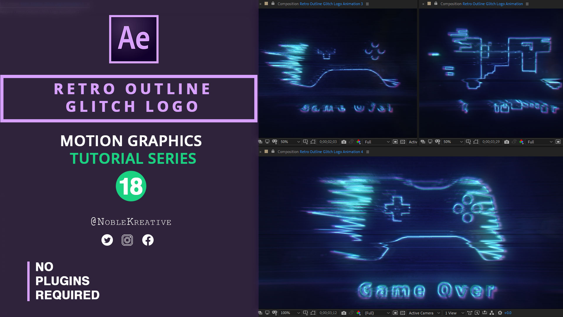Retro Outline Glitch Logo , after effect tutorials , motion graphics , logo animation