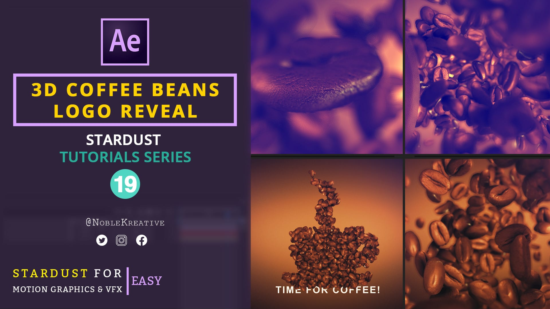 3D Coffee Beans Logo Reveal ,after effects tutorials , stardust tutorials , motion graphics