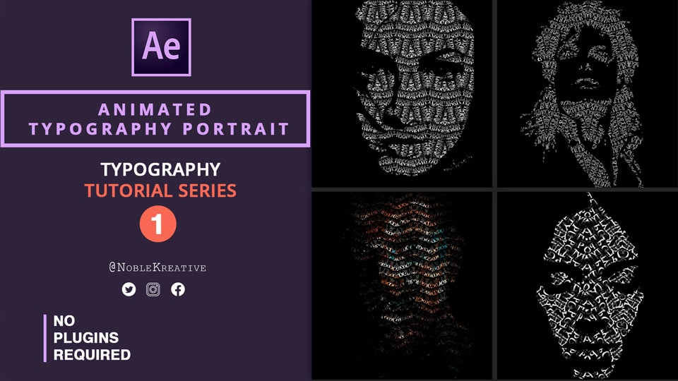 Animated Typography Portrait , after effects , motion graphics , typography tutorials