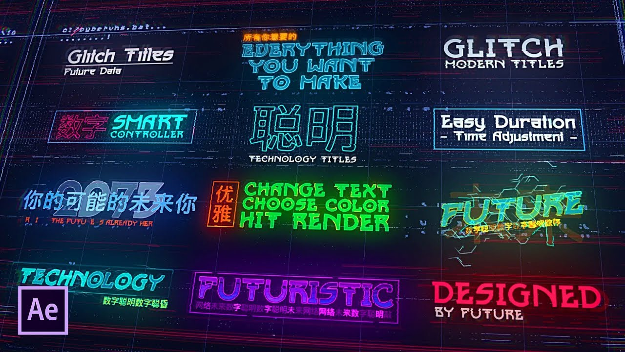 Cyberpunk HUD , after effects titles , futuristic titles AE