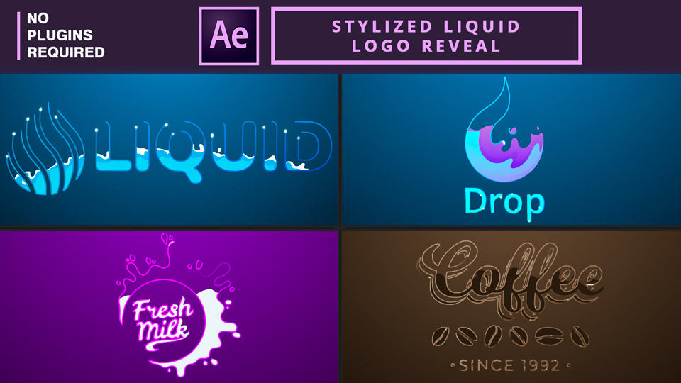 Liquid Logo Reveal ,Stylized Liquid Logo Reveal ,After Effects Tutorial , motion graphics tutorials , liquid logo , liquid animation