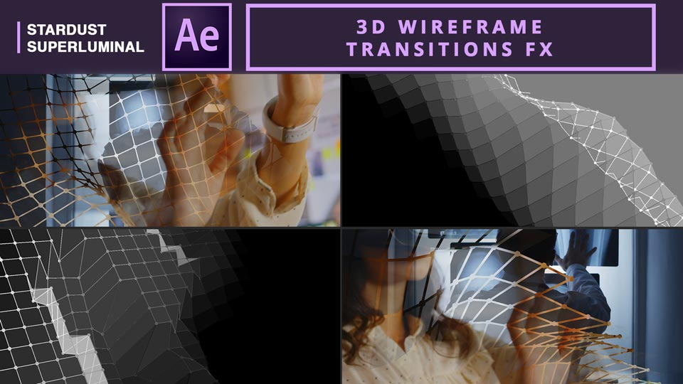 3D Wireframe Transitions , 3D Wireframe , Transitions , After Effects Tutorials , Motion Graphics Tutorials , Stardust Tutorials , Superluminal Stardust